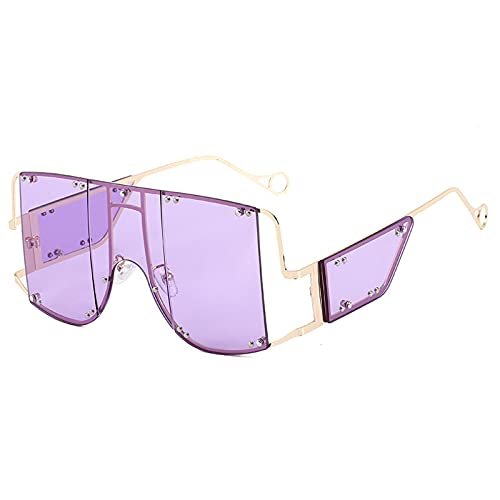 YHSW Einteilige Sonnenbrille,Brille,großer Rahmen,Einteilige Sonnenbrille mit Metallpunk-Persönlichkeit (148 mm * 62 mm)