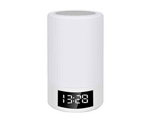 Altavoz inalámbrico Bluetooth Tarjeta de altavoz FM Radio Reloj despertador Touch Atenuación creativa Lámpara de mesa Luz colorida Luz de noche
