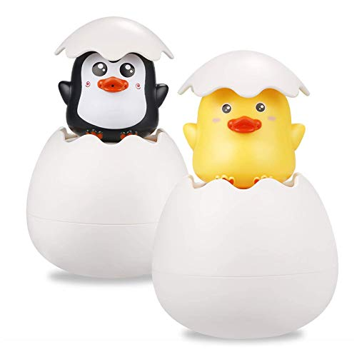 2 Sets Bath Toys- Cute Penguin and Ducks Water Spray Sprinkler Kids Swimming Shower Funny Toys Toys Boys and Girls Toys Plastic For 1-6 Years Old