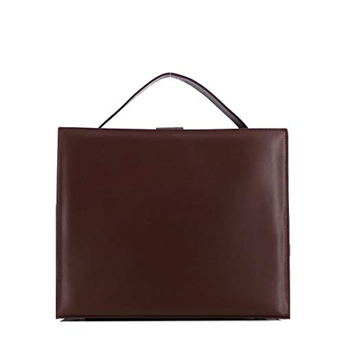 Rouven SUPER-SALE/B-WARE/STUDIO.MUNET Leder Handtasche Shopper Business Schultertsche Tasche/Lovisa 33 Tote Bag/mittel / 33x23x16 cm/Braun & Gold