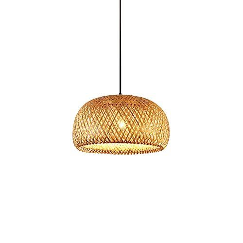 KAIKEA Lámpara de araña de bambú y ratán semicircular de 14,9 pulgadas, lámpara de techo tejida a mano, lámpara de techo de estilo chino, adecuada para cocina de restaurante, comedor, dormitorio, lámp