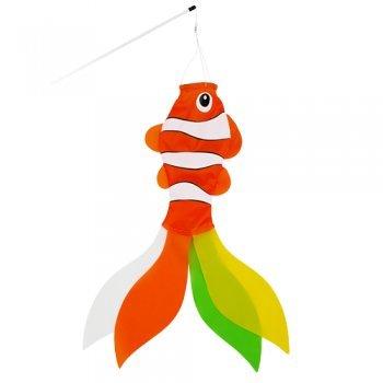 CIM Windsack - Clownfish - UV-beständig und wetterfest - Abmessungen: 15x60cm - inkl. Fiberglasstab und Wirbelkarabiner