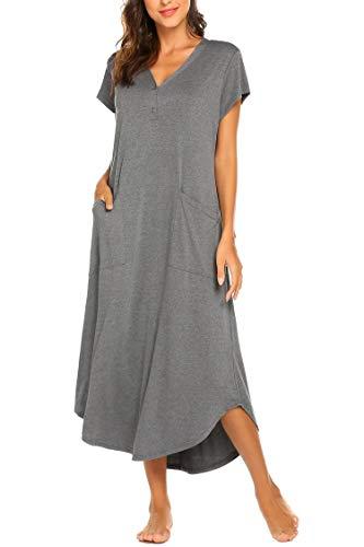 Nachthemd Damen Stillnachthemd Bodenlang Kurzarm Umstandskleid Knielang Nachtwäsche Nachtkleid Geburtshemd mit V-Ausschnitt Knopfleiste, 2 Taschen aus Baumwolle für Sommer Herbst Geburt Krankenhaus