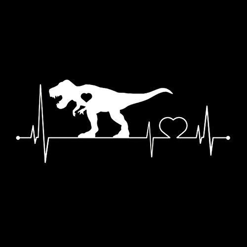 MCTYLI 17,2 cm x 6,7 cm Cartoons mijn hart doos voor dinosaurus vinyl zwart/zilver autosticker
