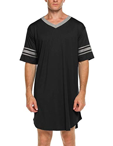 Ekouaer Men's Nightshirt, Cotton Nightwear Comfy Big&Tall V Neck Short Sleeve Soft Loose Pajama Sleep Shirt