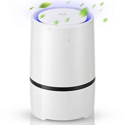 EXTSUD luchtreiniger met True HEPA-filter, desktop luchtreiniger stof-ionisator met LED-licht, perfect tegen stof en huisdierallergenen, voor mensen met een allergie, astma, huis, kantoor, auto