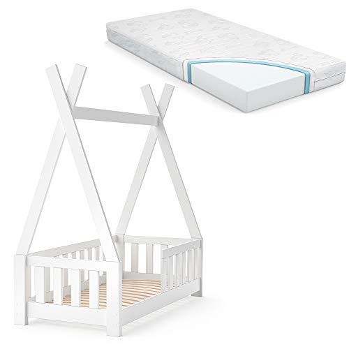 VitaliSpa Kinderbett Tipi Hausbett Indianer Bett Kinderhaus Massivholz Zelt Holz mit Zaun 70x140cm (Weiß mit Matratze)