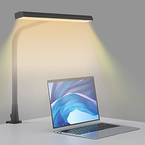 Lámpara de Escritorio LED Beigaon Luz de Lectura con Pinza USB de 10W, Cuello de Cisne, Temperatura de 3 Colores y Regulación gradual de Brillo, Función de Memoria, Control Táctil Bilateral, Negro