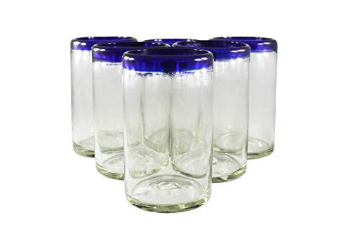 Mexican Blue Rimmed Drinking Glasses, Recycled Glass Hand Blown Heavy Thick Glassware Stemless Margarita Wine Cups Cobalt Kitchen Set of 6 Handcrafted Rustic 14 Oz