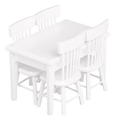 Miniatura Comedor Blanco Mesa de mesa Mini Mini Mini Muebles de madera para niñas 5pcs