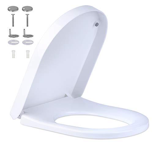 SACHUKOT Toilettendeckel, WC Sitz mit Absenkautomatik, Premium Duroplast Klositz mit Quick-Release Funktion, Antibakteriell Klodeckel D Form weiß Toilettensitz mit Edelstahl Befestigung