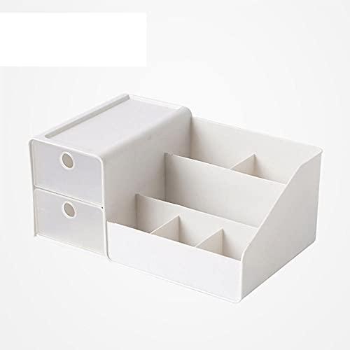 Tipo de cajón Caja de almacenamiento cosmético Joyería de plástico nórdico Lápiz labial Caja de acabado simple Caja de escritorio Estudiante-blanco
