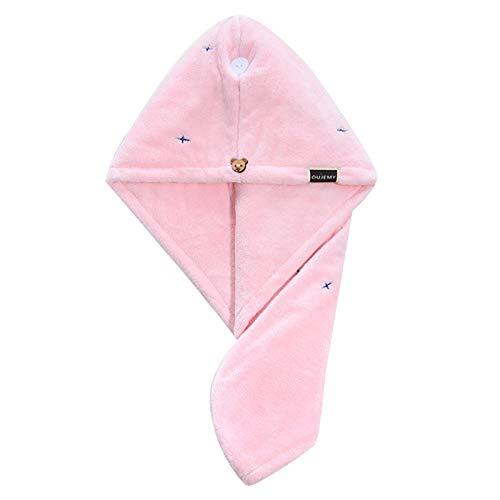 WFF Sombrero Sombrero de Pelo seco de la Toalla de Pelo, súper Absorbente Secado de Pelo Toalla de Toalla de Toalla de Pelo Turbante con Doble botón para Varios Peinados Gorro de puntogorra