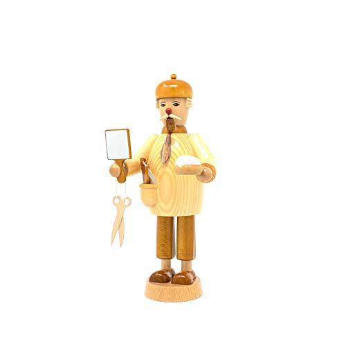 Drechslerei Friedbert Uhlig, Räuchermännchen Nr. 015, Natur, Friseur, 25cm hoch, aus regionalem Holz gedrechselt, echte Handarbeit aus dem Erzgebirge, Weihnachten, Holzkunst, Echtholz