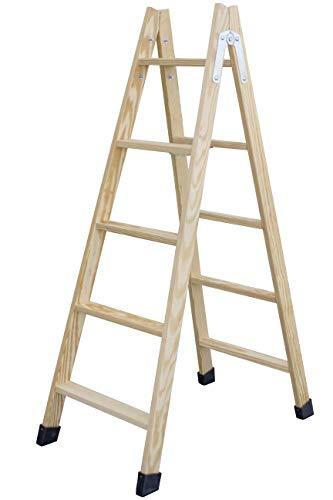 Escalera de tijera de madera con peldaño ancho de 54 mm. Fabricada en pino marítimo sin barnizar. (5 peldaños)