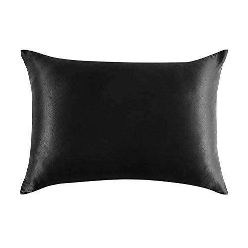 Suading Funda de almohada de seda pura natural para cabello y piel, 600 hilos, 50 x 75 cm, color negro