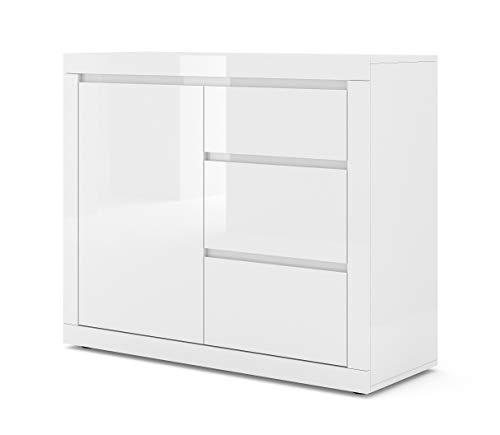 BIM Furniture Kommode Bello Bianco II 105 cm Sideboard Highboard Schrank Weiss mat/Weiss Hochglanz EIN Regal, DREI Schubladen Italienische