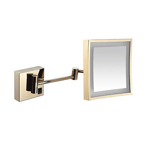 FREEDOH Espejo Maquillaje con Aumento 3X Espejo Baño Extensible Rectangular 8 Pulgadas Giratorio 360 Grados Montado En La Pared Espejo Belleza para Hoteles Baño,Oro