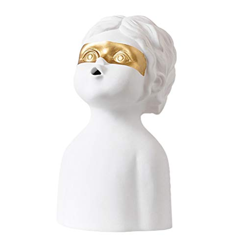 FAVOMOTO Escultura Humana de Cerámica Estatuilla Coleccionable Estatuilla Cabeza Humana Creativa Ornamento Artesanías para El Hogar Decoración de Arte de Escritorio