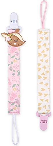 The Peanutshell Deer & Floral Pacifier Clips, 2 Pack Baby Girl Paci Tether Set, Fits All Pacifier Brands