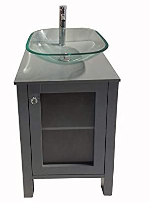 """20"""" Small Freestanding Wooden Bathroom Vanity with Clear Glass Vessel Sink Set (Square Glass Sink) (Grey)"""