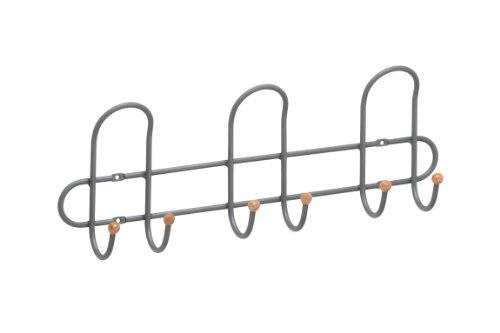 Metafranc hakenlijst, 400 mm, staal, neutrale look, 3 dubbele haken, voor wandmontage, ideaal voor hal of slaapkamer, garderobekast, wandgarderobe, wandhaken, kledinghaken, 262041
