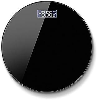 Báscula electrónica de baño, escala de peso, redonda, cristal templado, LED, báscula electrónica, báscula de baño, báscula personal (color negro pila)