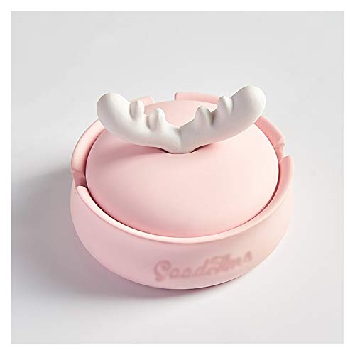 Soporte de ceniza Lindo cenicero con tapa anti mosca de ceniza de gran capacidad personalidad en el hogar dormitorio moderno creativo resina cenicero (rosa / azul) decoración ( Color : Pink )