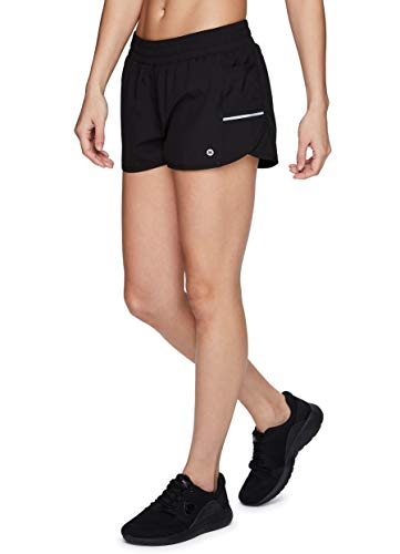 RBX Active Women's Athletic Training Relaxed Fit Stretch Woven Workout Running Short with Pockets & Attached Inner Brief