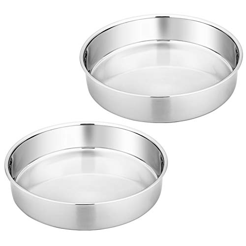Homikit Moldes de acero inoxidable, redondos, 2 unidades, 20 cm de diámetro, saludables y no tóxicos, pulidos, fáciles de limpiar y aptos para lavavajillas