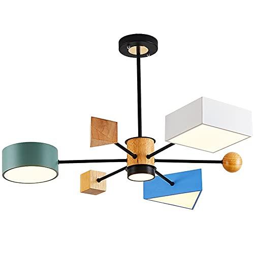 MUMUMI Macarrón de madera Moderna araña minimalista 3 comedor sala de estar decoración led colgante luz 42w alto translúcido lámpara de acrílico colgando luz