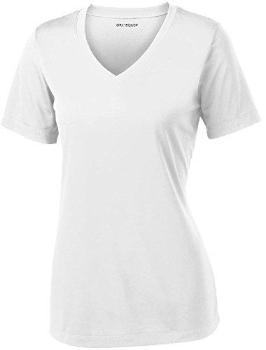 Camisas atléticas de manga corta para mujer que absorben la humedad, tallas XS a 4XL -  Blanco -  Large