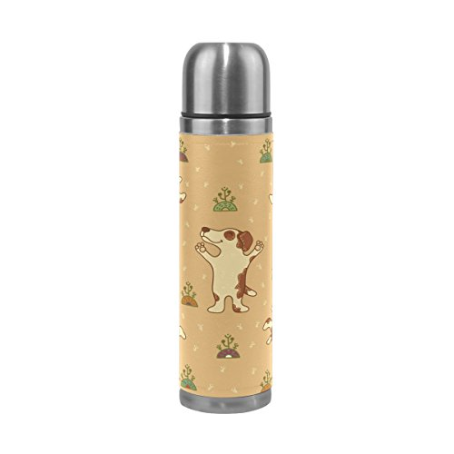Ffy Go Travel Mug, Funny Dog Imprimé Vintage personnalisé Thermos en acier inoxydable LeakProof Thermos isotherme extérieur Cuir pour filles garçons 500 ml