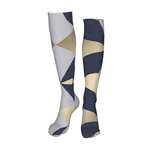 Vilico Lässige Kniestrümpfe Overknee Socken Lange Socken Nova Geometrisch Navy Gold Unisex Sport für Männer Frauen