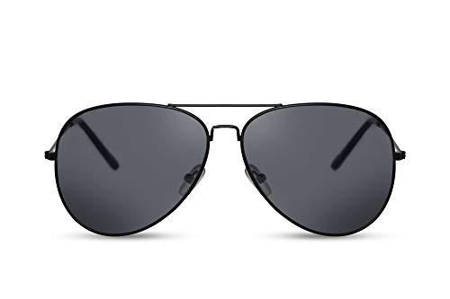 Cheapass Sonnenbrille Schwarz Piloten-Sonnenbrille Flieger-Brille All-Black UV-400 Top-Gun Metall Herren Damen
