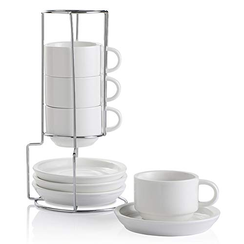 SWEEJAR Porcelain Espresso Cups with Saucers, 4 Ounce Stackable Cappuccino Cups with Metal Stand for Coffee Drinks, Latte, Tea - Set of 4 (White)