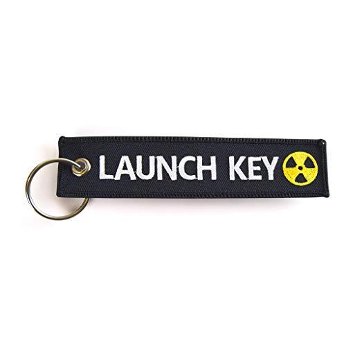 RENEGADE Motorrad Schlüsselanhänger aus Stoff mit Schlüsselring Bestickt & Kratzfest (130 x 30 mm, schwarz). Ideal für Ihr Motorrad (Launch Key)