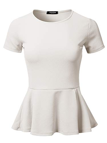 SSOULM Women's Classic Stretchy Short Sleeve Flare Peplum Blouse Top White 2X