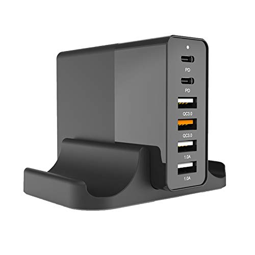 WXLSQ USB C Charger, 75W 6-Port Desktop USB Charging Station with 2 USB C Ports + 4 USB A Ports for MacBook Pro/Air, Dell XPS 13, iPad Pro, iPhone, Nintendo Switch