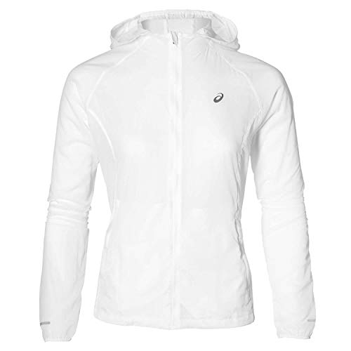 ASICS Damen Packable Trainingsjacke-Weiß, Silber Jacken, L