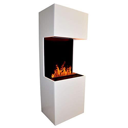 GLOW FIRE Beethoven Elektrokamin Opti Myst 3D Wasserdampf Feuer Opti-myst Cassette 400, elektrischer Raumteiler Standkamin mit Fernbedienung   Regelbarer Flammeneffekt, 60 cm, Weiß