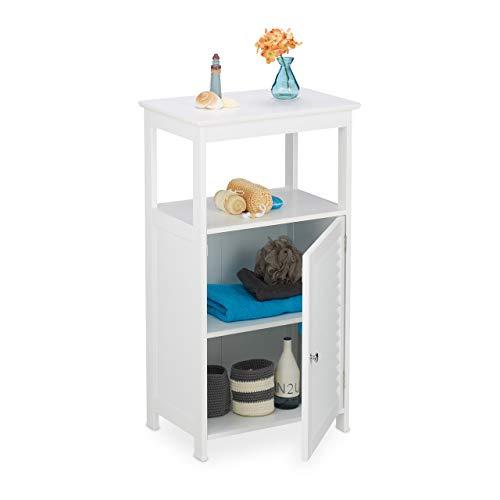 Relaxdays Badschrank, 3 Fächer, Lamellentür, HxBxT: 83 x 45 x 30 cm, schmal, Schränkchen für Bad, Küche und Flur, weiß