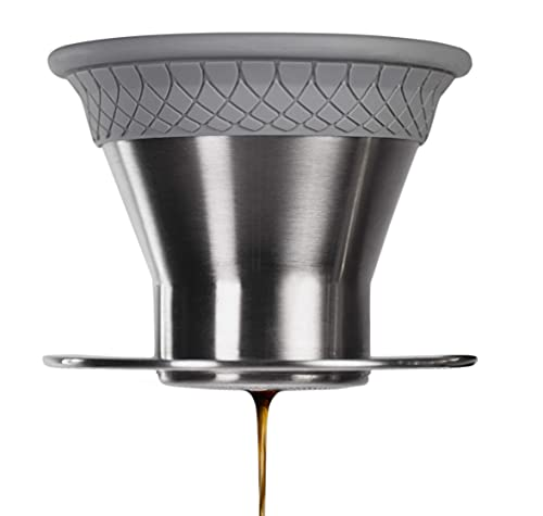 ESPRO BLOOM Pour Over Coffee Brewer Set - Dual Filter Mode Makes Coffee in 2 Minutes, Brushed Stainless Steel