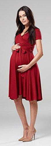 Happy Mama.Damen 2in1 Umstands Gerafften Stillkleid Doppelschicht Kurzarm.598p (Purpur) - 6