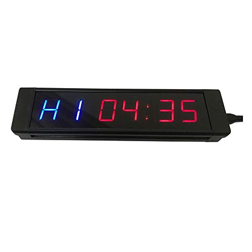 Feixunfan LED Interval Timer Hoge 6 Cijfers 12/24 uur Real Time Klok Stopwatch 1 Inch LED Countdown Timer met Afstandsbediening voor Thuis Gym Fitness voor Thuis of Commercieel