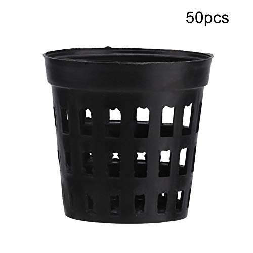 Hffheer 50 STKS plastic waterpotten manden voor waterplanten Aquariumvissen Tank Waterplanten Mand Kunststof Aquarium Planten Manden Kunststof Gleufgaas Netto Plant Cups Pots