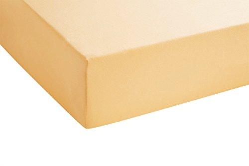 biberna 77144 Jersey-Stretch Spannbetttuch, nach Öko-Tex Standard 100, ca. 140 x 200 cm bis 160 x 200 cm, gold - 2