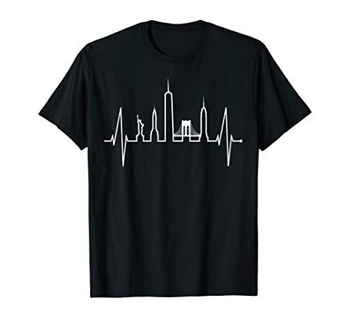New York Herzschlag Skyline Freiheitsstatue NYC USA New York T-Shirt