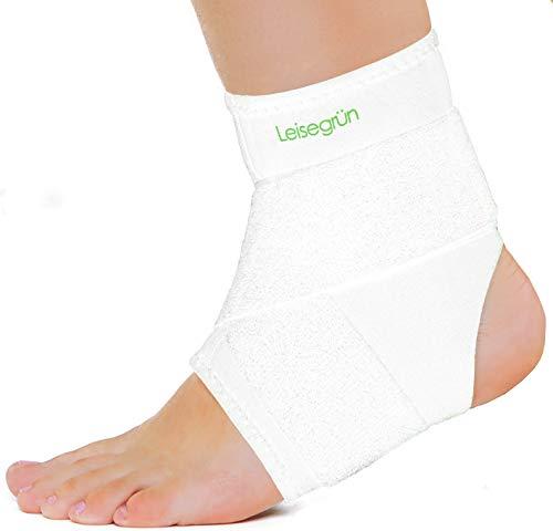 Leisegrün Sprunggelenkbandage mit Klettverschluss, Fußbandage bietet optimalen Support beim Sport wie Handball, Fußball, Volleyball. Für Damen, Herren und Kinder, rechts und Links tragbar, weiß