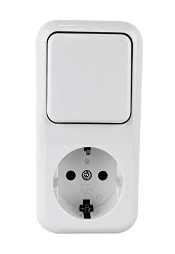 Base schuko con interruptor. Características Tipo base shuko + conmutador Color blanco Intensidad máxima base 16A/250V~ Intensidad máxima interruptor 10A/250V~